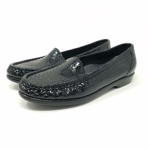 SAS Black Croc Print Tripad Comfort Loafers, 7.5 M